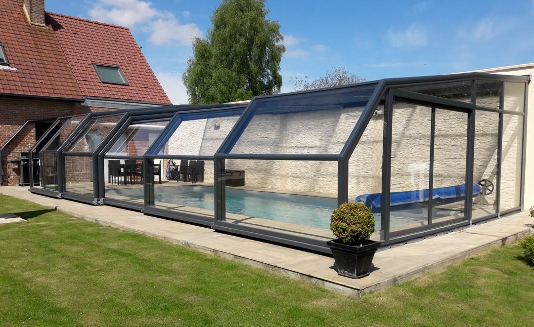 Abri de fa ade pour piscine d couvrable abris piscines for Abri de piscine sesame